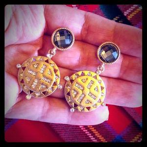 Roman disc gold crystal pierced earrings